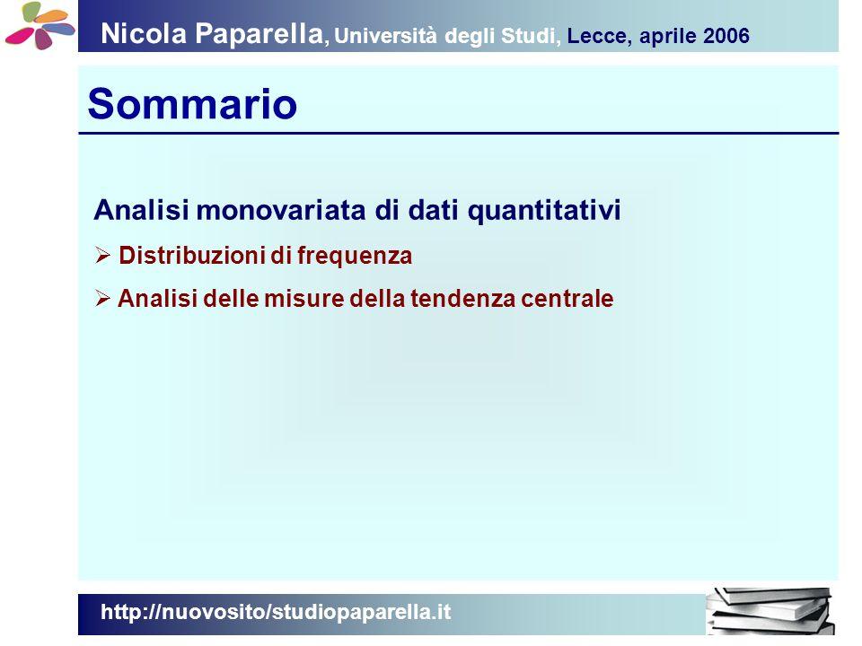 Nicola Paparella, Università degli Studi, Lecce, aprile 2006 Sommario Analisi monovariata di dati quantitativi Distribuzioni di frequenza Analisi delle misure della tendenza centrale http://nuovosito/studiopaparella.it
