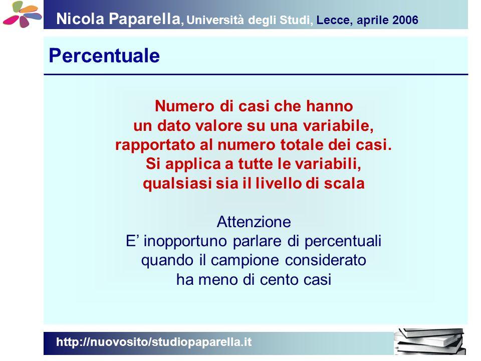 Nicola Paparella, Università degli Studi, Lecce, aprile 2006 Percentuale http://nuovosito/studiopaparella.it Numero di casi che hanno un dato valore su una variabile, rapportato al numero totale dei casi.