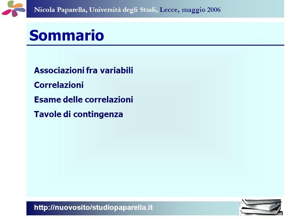 Nicola Paparella, Università degli Studi, Lecce, maggio 2006 Sommario Associazioni fra variabili Correlazioni Esame delle correlazioni Tavole di contingenza http://nuovosito/studiopaparella.it