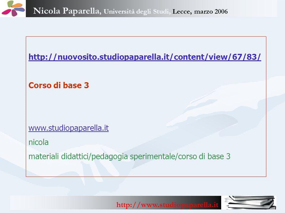 Nicola Paparella, Università degli Studi, Lecce, marzo 2006 http://www.studiopaparella.it http://nuovosito.studiopaparella.it/content/view/67/83/ Cors