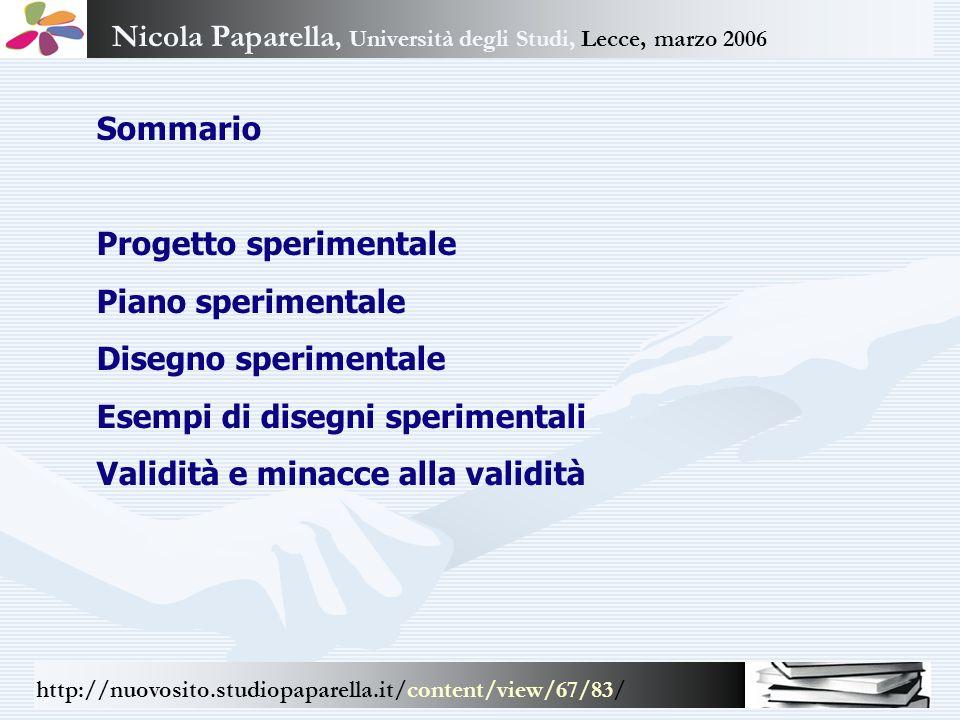 Nicola Paparella, Università degli Studi, Lecce, marzo 2006 http://nuovosito.studiopaparella.it/content/view/67/83/ Sommario Progetto sperimentale Pia