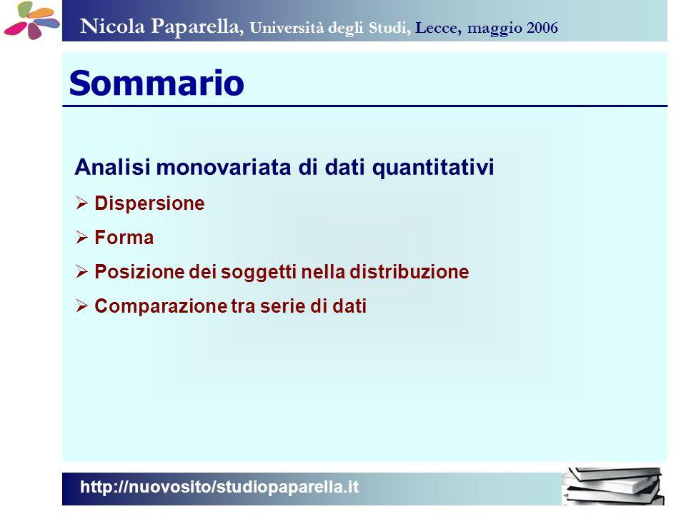 Nicola Paparella, Università degli Studi, Lecce, maggio 2006 Sommario Analisi monovariata di dati quantitativi Dispersione Forma Posizione dei soggett