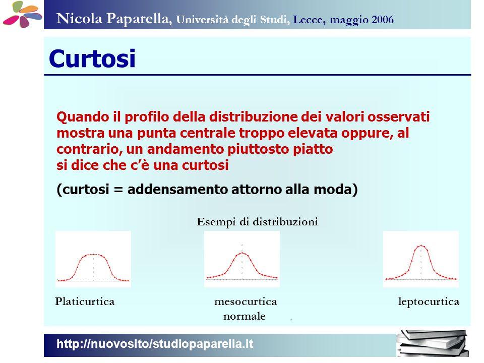 Nicola Paparella, Università degli Studi, Lecce, maggio 2006 Curtosi Quando il profilo della distribuzione dei valori osservati mostra una punta centr
