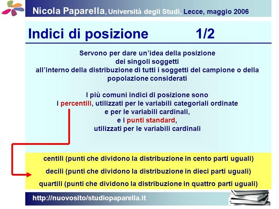 Nicola Paparella, Università degli Studi, Lecce, maggio 2006 Indici di posizione2/2 http://nuovosito/studiopaparella.it Suggerimenti per il calcolo Mediana = posizione di … (n + 1) / 2 Decile = posizione di … (n + 1) / 10 Quartile = posizione di … (n + 1) / 4