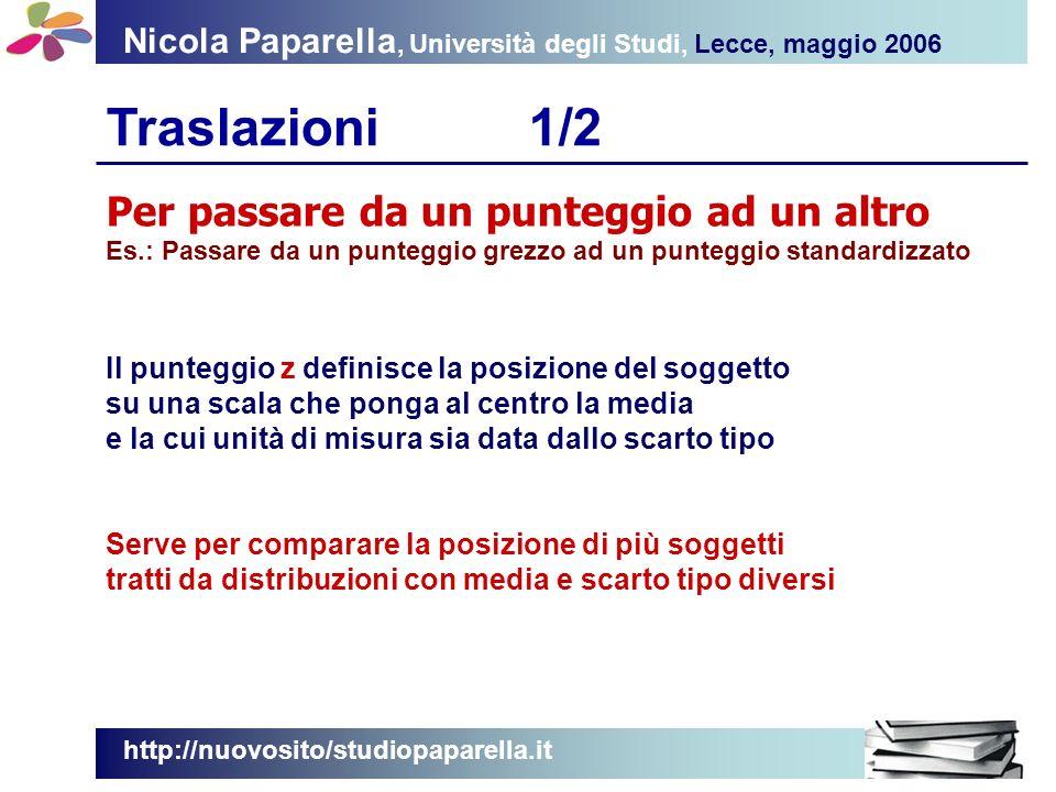 Nicola Paparella, Università degli Studi, Lecce, maggio 2006 Traslazioni1/2 http://nuovosito/studiopaparella.it Per passare da un punteggio ad un altr