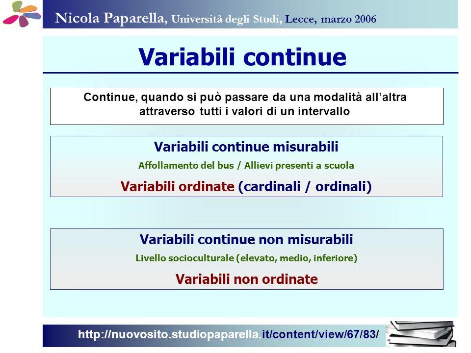 Nicola Paparella, Università degli Studi, Lecce, marzo 2006 http://nuovosito.studiopaparella.it/content/view/67/83/ Variabili continue Variabili conti