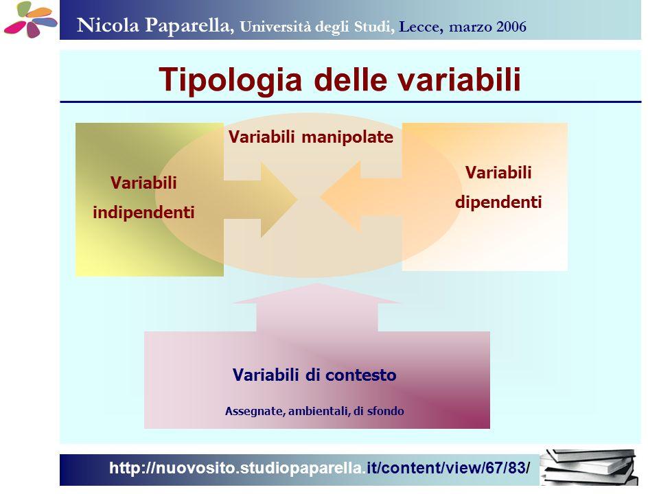Nicola Paparella, Università degli Studi, Lecce, marzo 2006 http://nuovosito.studiopaparella.it/content/view/67/83/ Tipologia delle variabili Variabil