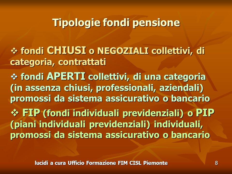 lucidi a cura Ufficio Formazione FIM CISL Piemonte8 Tipologie fondi pensione fondi CHIUSI o NEGOZIALI collettivi, di categoria, contrattati fondi CHIU