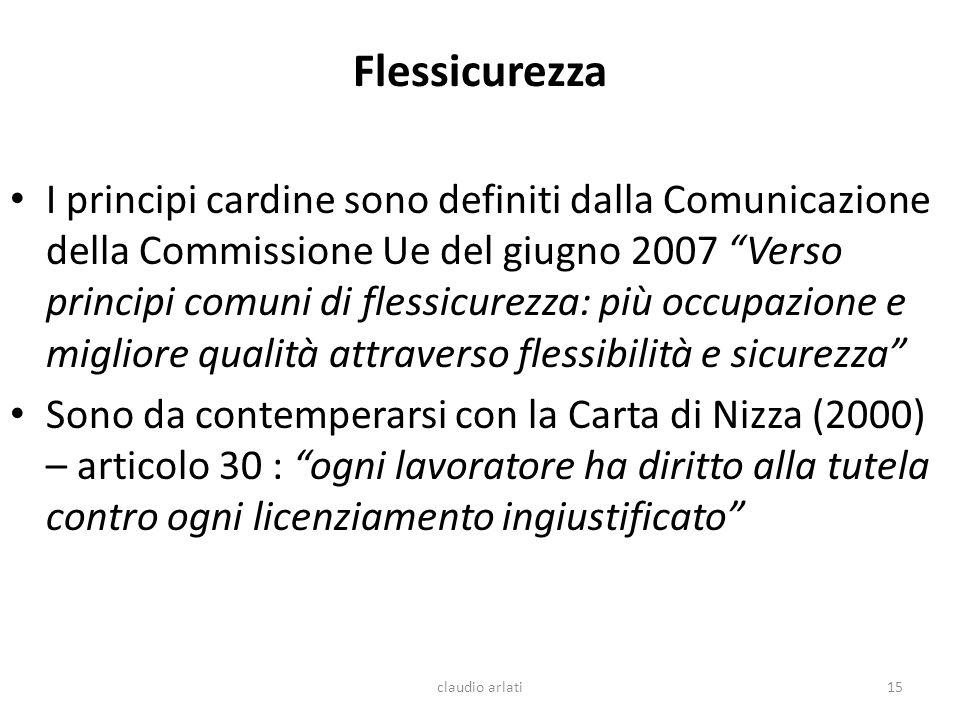 Flessicurezza I principi cardine sono definiti dalla Comunicazione della Commissione Ue del giugno 2007 Verso principi comuni di flessicurezza: più oc