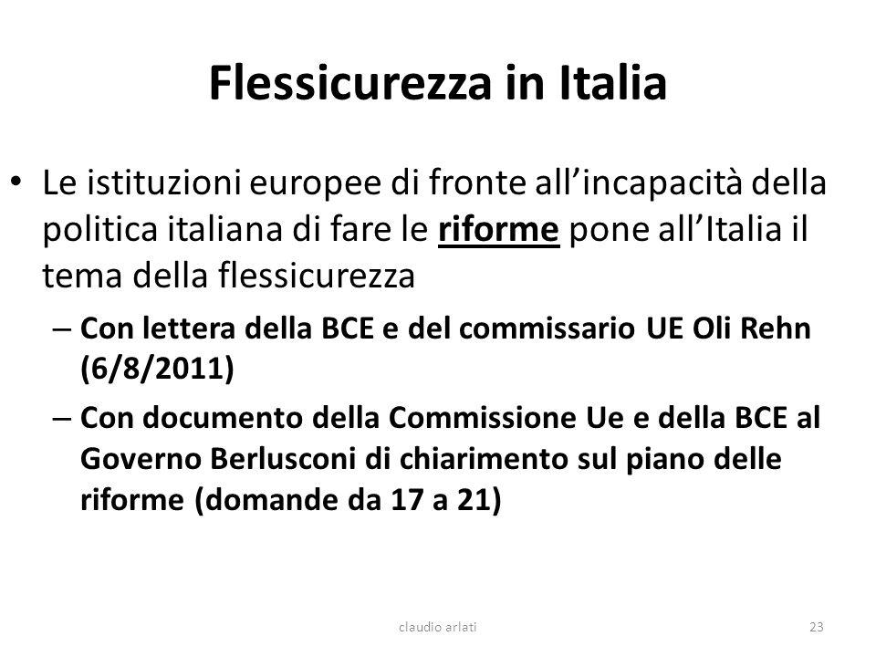 Flessicurezza in Italia Le istituzioni europee di fronte allincapacità della politica italiana di fare le riforme pone allItalia il tema della flessic
