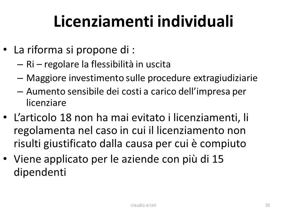 Licenziamenti individuali La riforma si propone di : – Ri – regolare la flessibilità in uscita – Maggiore investimento sulle procedure extragiudiziari