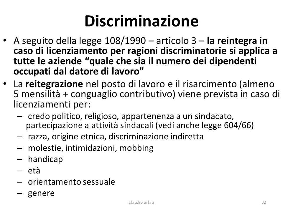 Discriminazione A seguito della legge 108/1990 – articolo 3 – la reintegra in caso di licenziamento per ragioni discriminatorie si applica a tutte le