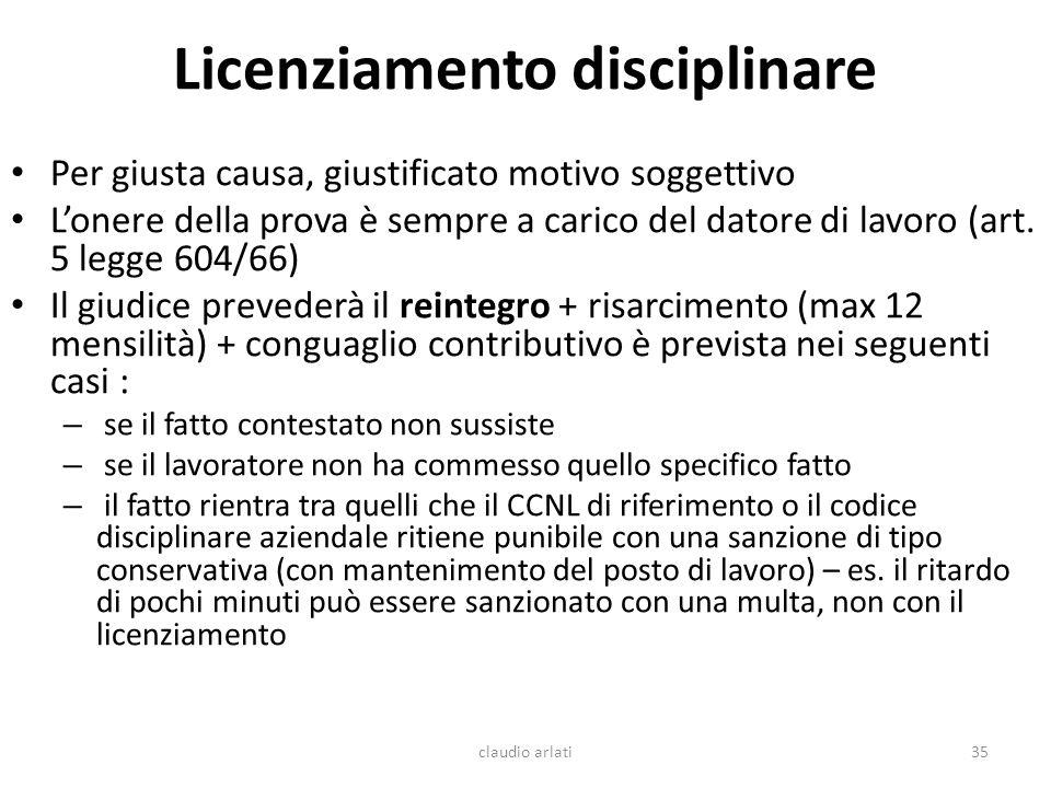Licenziamento disciplinare Per giusta causa, giustificato motivo soggettivo Lonere della prova è sempre a carico del datore di lavoro (art. 5 legge 60