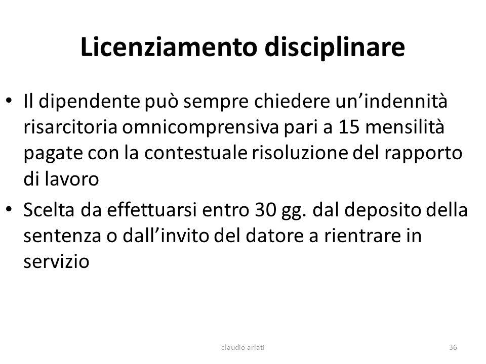 Licenziamento disciplinare Il dipendente può sempre chiedere unindennità risarcitoria omnicomprensiva pari a 15 mensilità pagate con la contestuale ri