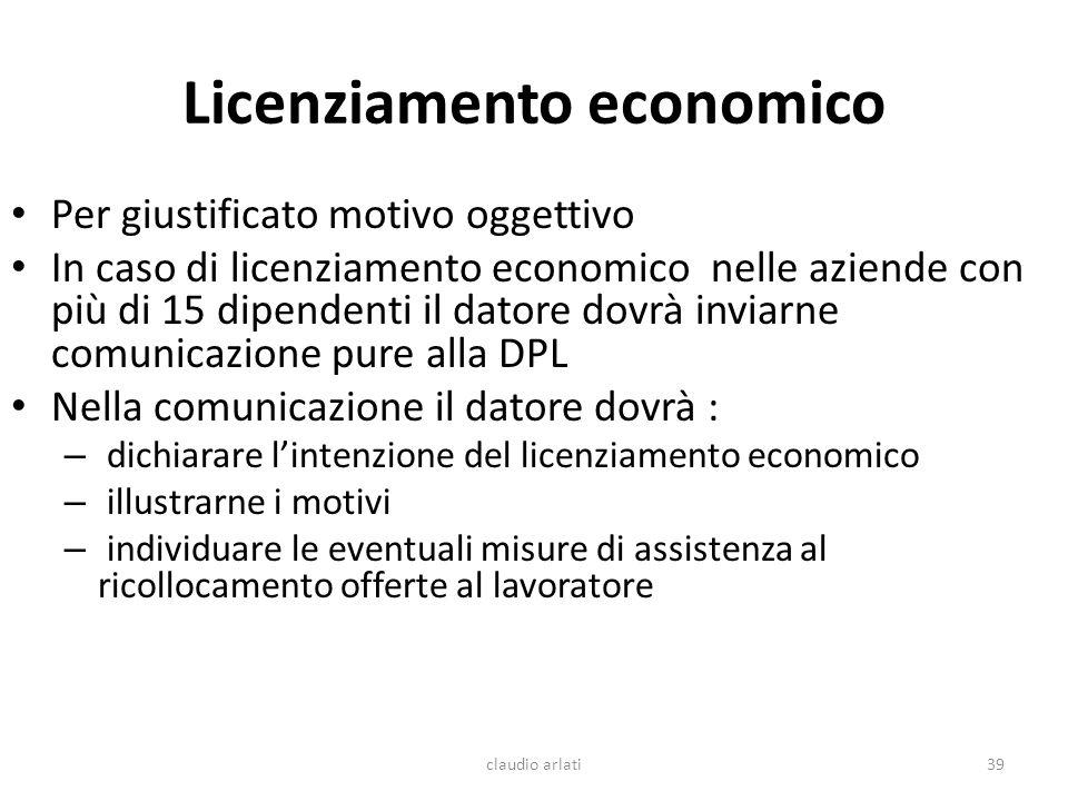 Licenziamento economico Per giustificato motivo oggettivo In caso di licenziamento economico nelle aziende con più di 15 dipendenti il datore dovrà in