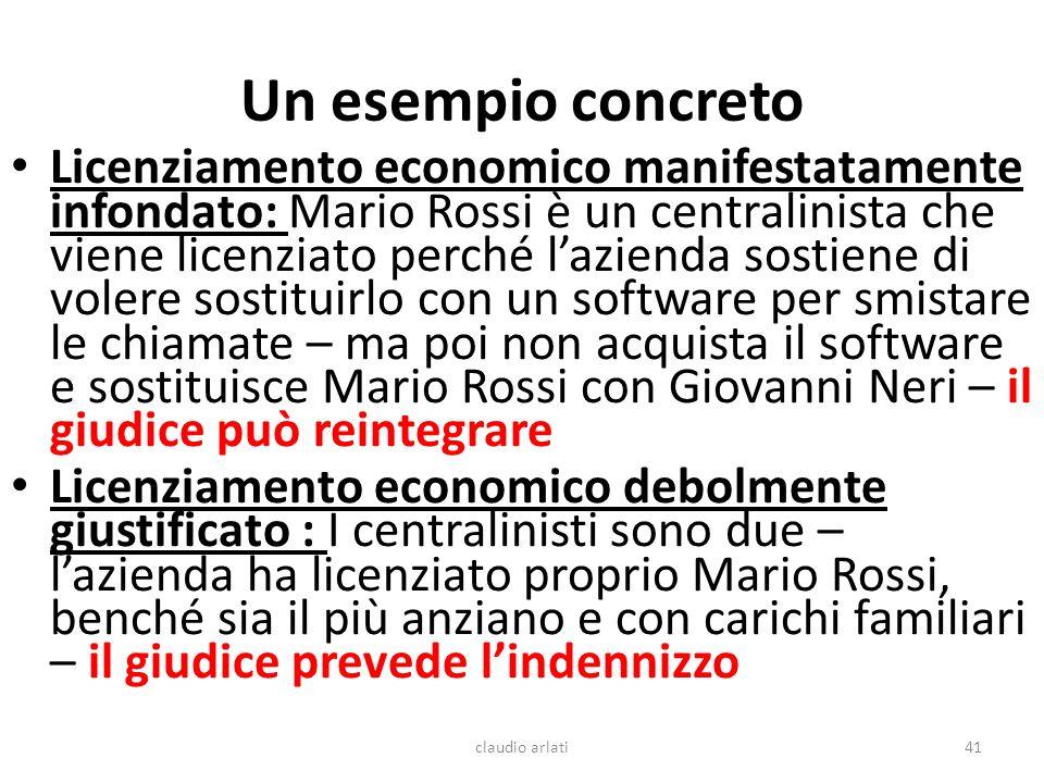 Un esempio concreto Licenziamento economico manifestatamente infondato: Mario Rossi è un centralinista che viene licenziato perché lazienda sostiene d