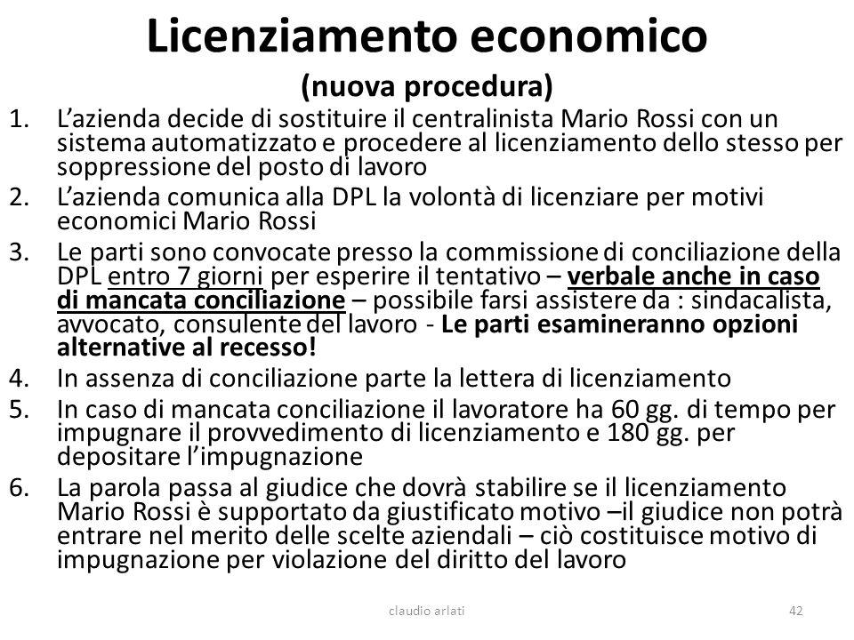 Licenziamento economico (nuova procedura) 1.Lazienda decide di sostituire il centralinista Mario Rossi con un sistema automatizzato e procedere al lic
