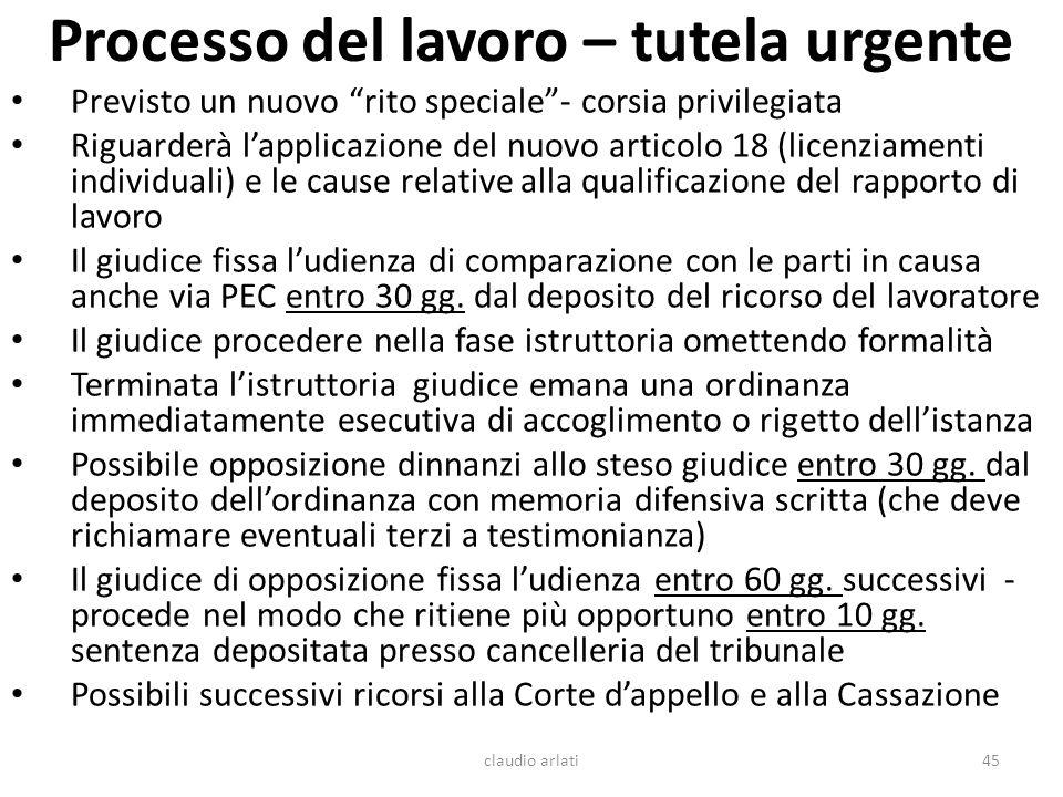 Processo del lavoro – tutela urgente Previsto un nuovo rito speciale- corsia privilegiata Riguarderà lapplicazione del nuovo articolo 18 (licenziament