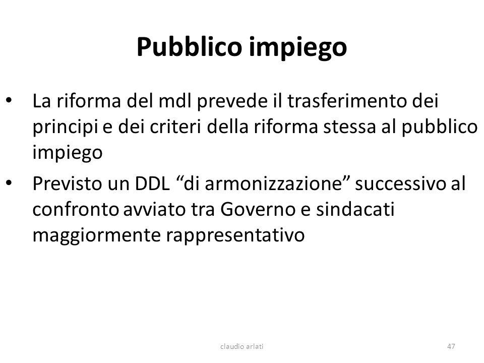 Pubblico impiego La riforma del mdl prevede il trasferimento dei principi e dei criteri della riforma stessa al pubblico impiego Previsto un DDL di ar