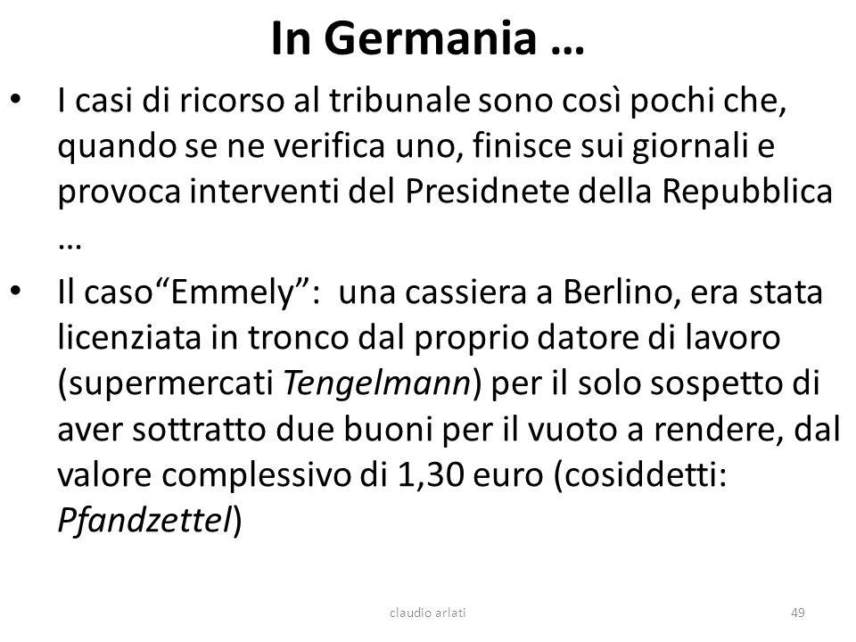 In Germania … I casi di ricorso al tribunale sono così pochi che, quando se ne verifica uno, finisce sui giornali e provoca interventi del Presidnete