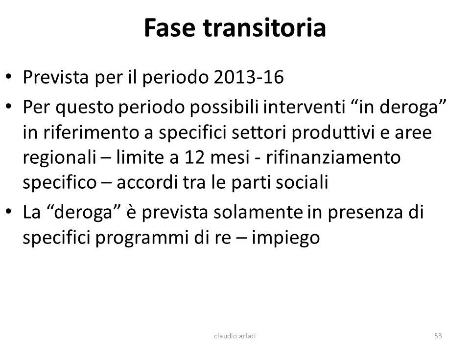 Fase transitoria Prevista per il periodo 2013-16 Per questo periodo possibili interventi in deroga in riferimento a specifici settori produttivi e are
