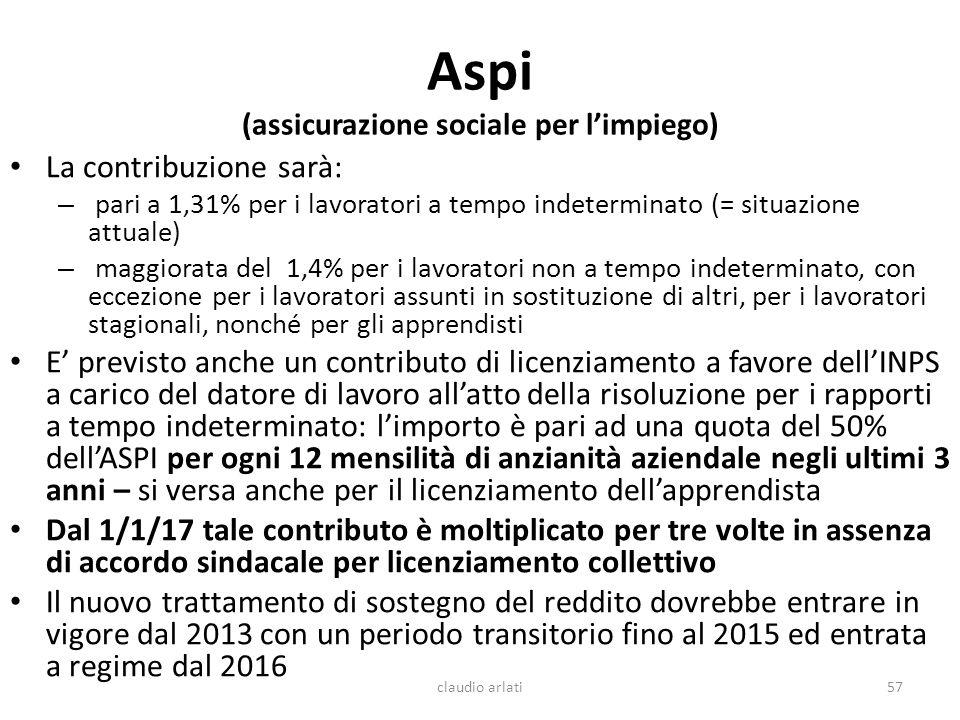 Aspi (assicurazione sociale per limpiego) La contribuzione sarà: – pari a 1,31% per i lavoratori a tempo indeterminato (= situazione attuale) – maggio