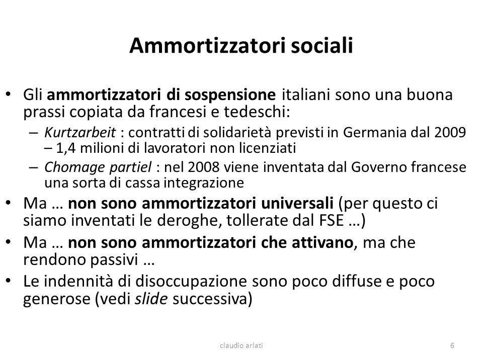 Ammortizzatori sociali Gli ammortizzatori di sospensione italiani sono una buona prassi copiata da francesi e tedeschi: – Kurtzarbeit : contratti di s