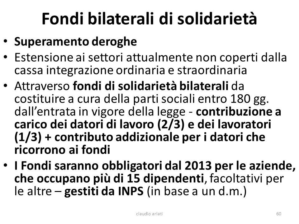 Fondi bilaterali di solidarietà Superamento deroghe Estensione ai settori attualmente non coperti dalla cassa integrazione ordinaria e straordinaria A