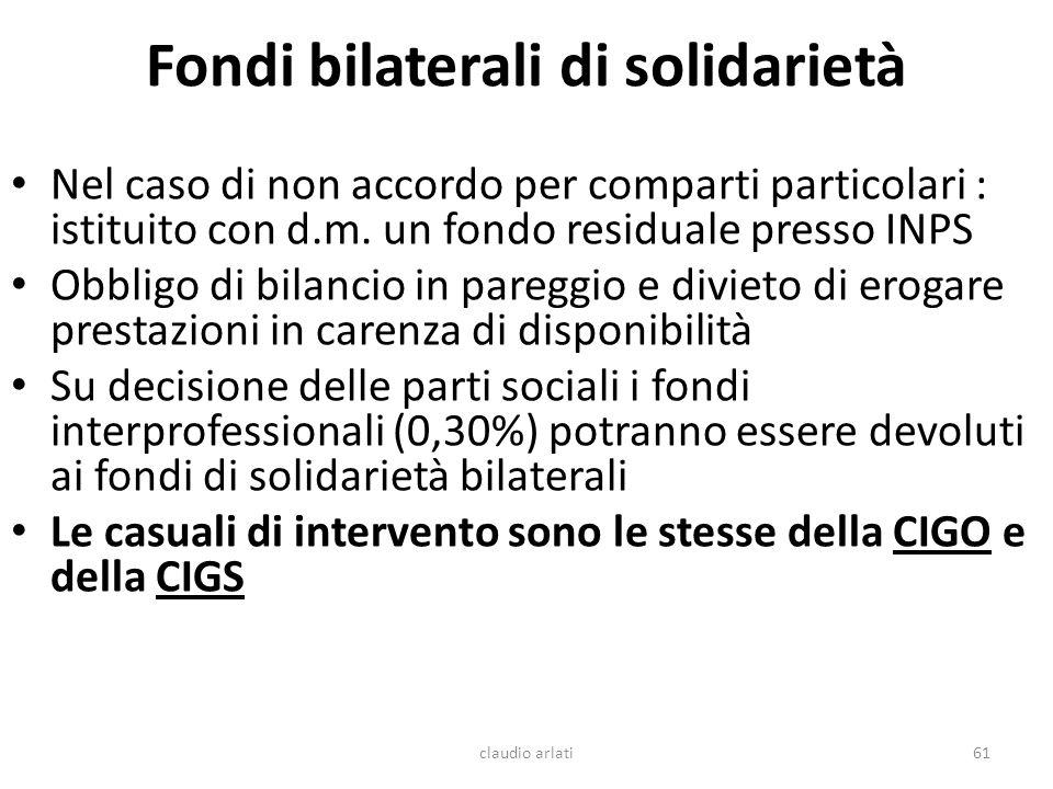 Fondi bilaterali di solidarietà Nel caso di non accordo per comparti particolari : istituito con d.m. un fondo residuale presso INPS Obbligo di bilanc