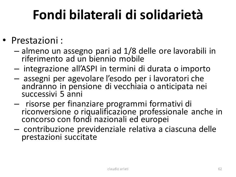 Fondi bilaterali di solidarietà Prestazioni : – almeno un assegno pari ad 1/8 delle ore lavorabili in riferimento ad un biennio mobile – integrazione