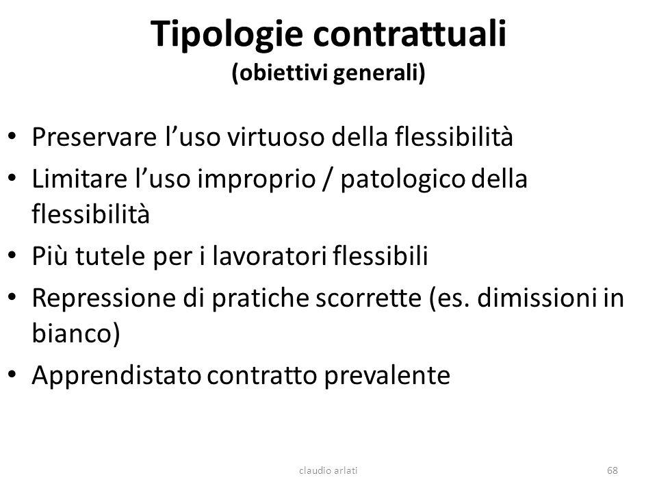 Tipologie contrattuali (obiettivi generali) claudio arlati68 Preservare luso virtuoso della flessibilità Limitare luso improprio / patologico della fl