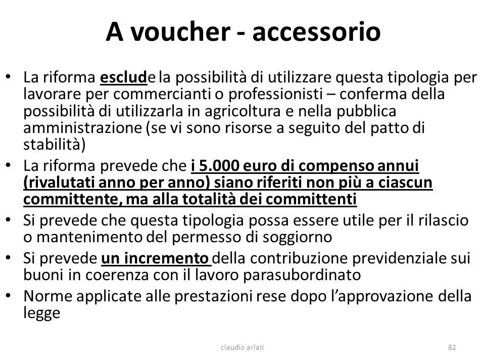 A voucher - accessorio La riforma esclude la possibilità di utilizzare questa tipologia per lavorare per commercianti o professionisti – conferma dell