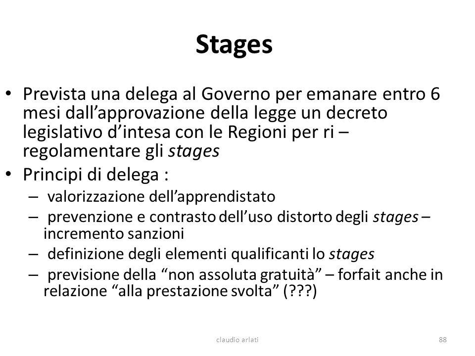 Stages Prevista una delega al Governo per emanare entro 6 mesi dallapprovazione della legge un decreto legislativo dintesa con le Regioni per ri – reg