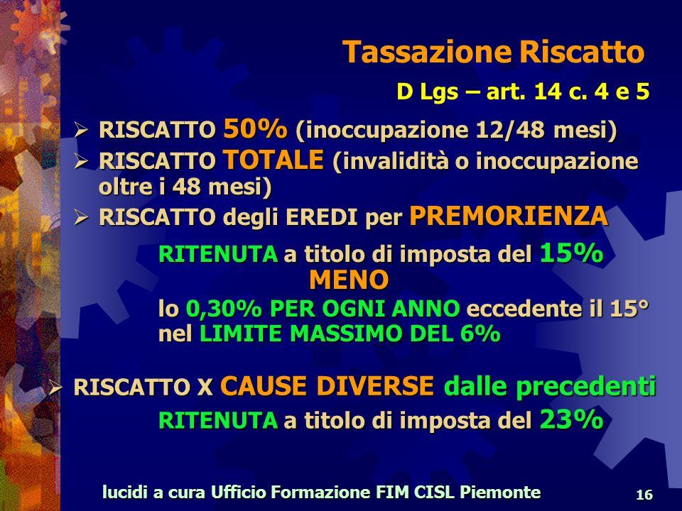 lucidi a cura Ufficio Formazione FIM CISL Piemonte 16 D Lgs – art.