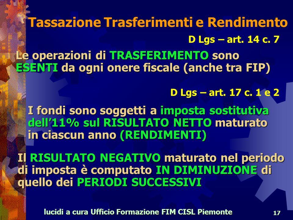 lucidi a cura Ufficio Formazione FIM CISL Piemonte 17 D Lgs – art.
