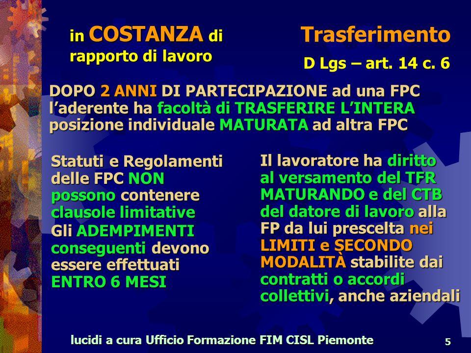 lucidi a cura Ufficio Formazione FIM CISL Piemonte 5 Trasferimento D Lgs – art.