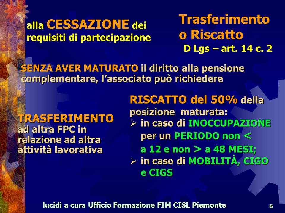 lucidi a cura Ufficio Formazione FIM CISL Piemonte 6 D Lgs – art.