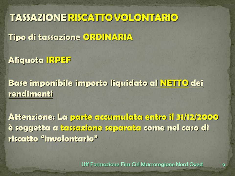 9 Uff Formazione Fim Cisl Macroregione Nord Ovest Tipo di tassazione ORDINARIA Aliquota IRPEF Base imponibile importo liquidato al NETTO dei rendiment