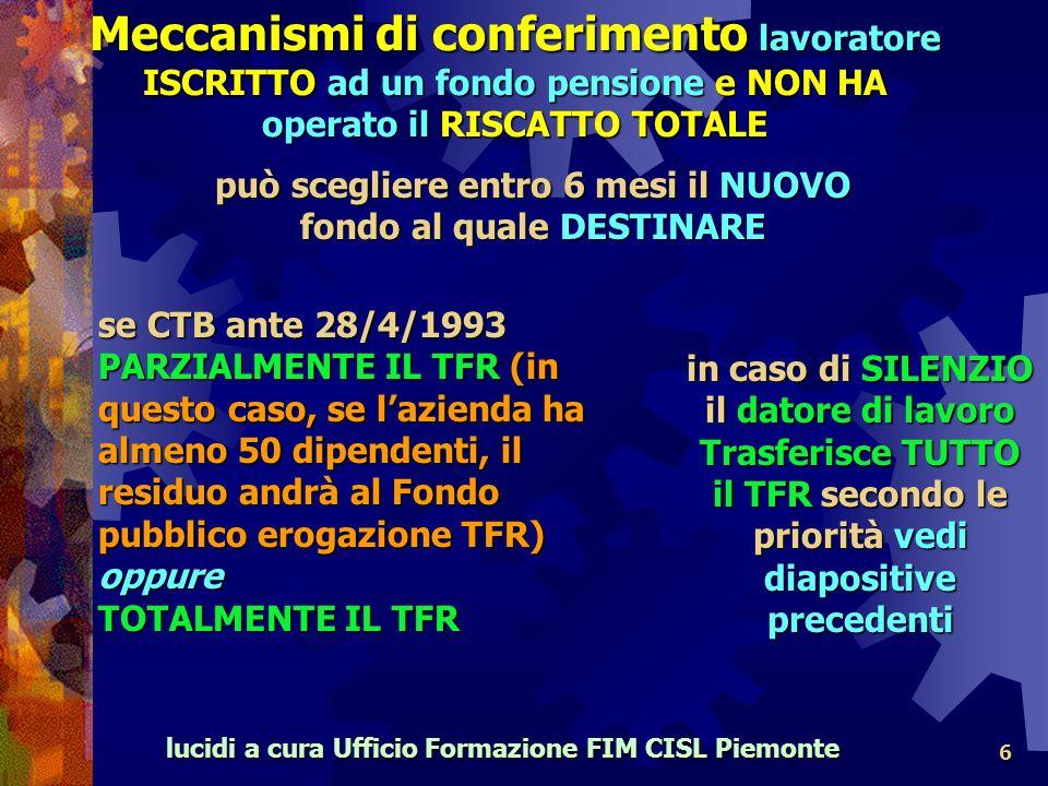 lucidi a cura Ufficio Formazione FIM CISL Piemonte 6 può scegliere entro 6 mesi il NUOVO fondo al quale DESTINARE se CTB ante 28/4/1993 PARZIALMENTE IL TFR (in questo caso, se lazienda ha almeno 50 dipendenti, il residuo andrà al Fondo pubblico erogazione TFR) oppure TOTALMENTE IL TFR in caso di SILENZIO il datore di lavoro Trasferisce TUTTO il TFR secondo le priorità vedi diapositive precedenti Meccanismi di conferimento lavoratore ISCRITTO ad un fondo pensione e NON HA operato il RISCATTO TOTALE