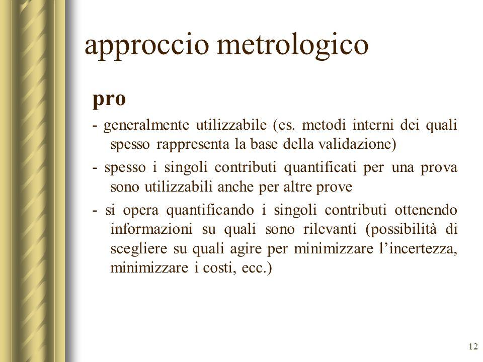 12 approccio metrologico pro - generalmente utilizzabile (es.
