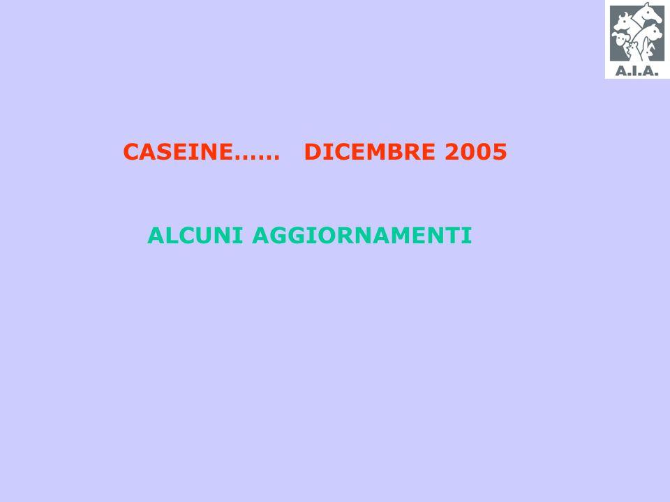 CASEINE…… DICEMBRE 2005 ALCUNI AGGIORNAMENTI