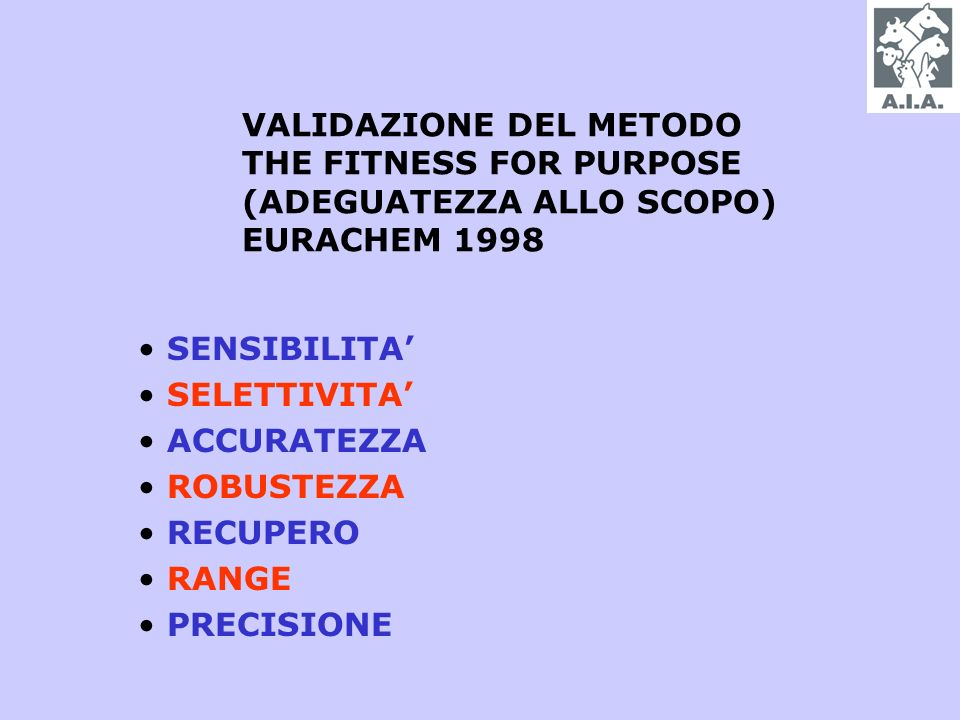 VALIDAZIONE DEL METODO THE FITNESS FOR PURPOSE (ADEGUATEZZA ALLO SCOPO) EURACHEM 1998 SENSIBILITA SELETTIVITA ACCURATEZZA ROBUSTEZZA RECUPERO RANGE PRECISIONE
