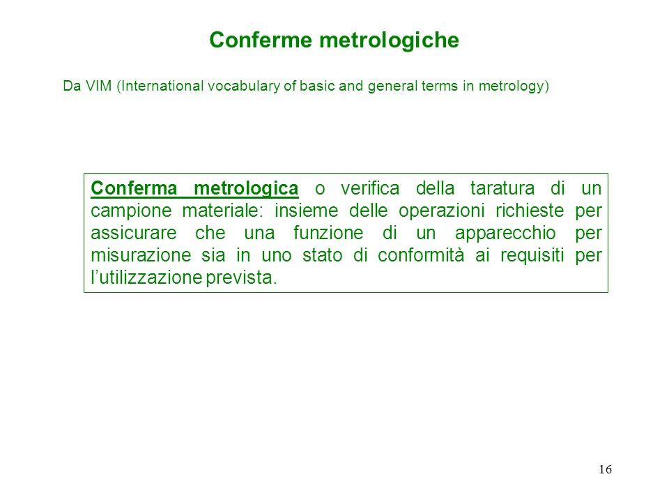 15 Processo di misurazione (3.10.2) insieme di operazioni per determinare il valore di una quantità Conferma metrologica (3.10.3) insieme di operazion