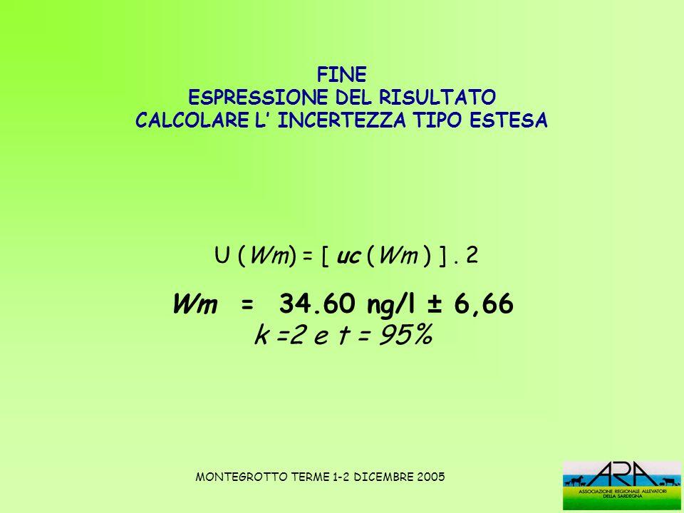 FINE ESPRESSIONE DEL RISULTATO CALCOLARE L INCERTEZZA TIPO ESTESA U (Wm) = [ uc (Wm ) ]. 2 Wm = 34.60 ng/l ± 6,66 k =2 e t = 95% MONTEGROTTO TERME 1-2