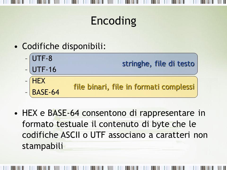 stringhe, file di testo file binari, file in formati complessi Encoding Codifiche disponibili: –UTF-8 –UTF-16 –HEX –BASE-64 HEX e BASE-64 consentono di rappresentare in formato testuale il contenuto di byte che le codifiche ASCII o UTF associano a caratteri non stampabili
