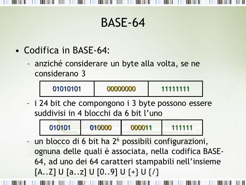 BASE-64 Codifica in BASE-64: –anziché considerare un byte alla volta, se ne considerano 3 010101010000000011111111 –i 24 bit che compongono i 3 byte possono essere suddivisi in 4 blocchi da 6 bit luno 010101 010000 000011 111111 –un blocco di 6 bit ha 2 6 possibili configurazioni, ognuna delle quali è associata, nella codifica BASE- 64, ad uno dei 64 caratteri stampabili nellinsieme [A..Z] U [a..z] U [0..9] U {+} U {/}