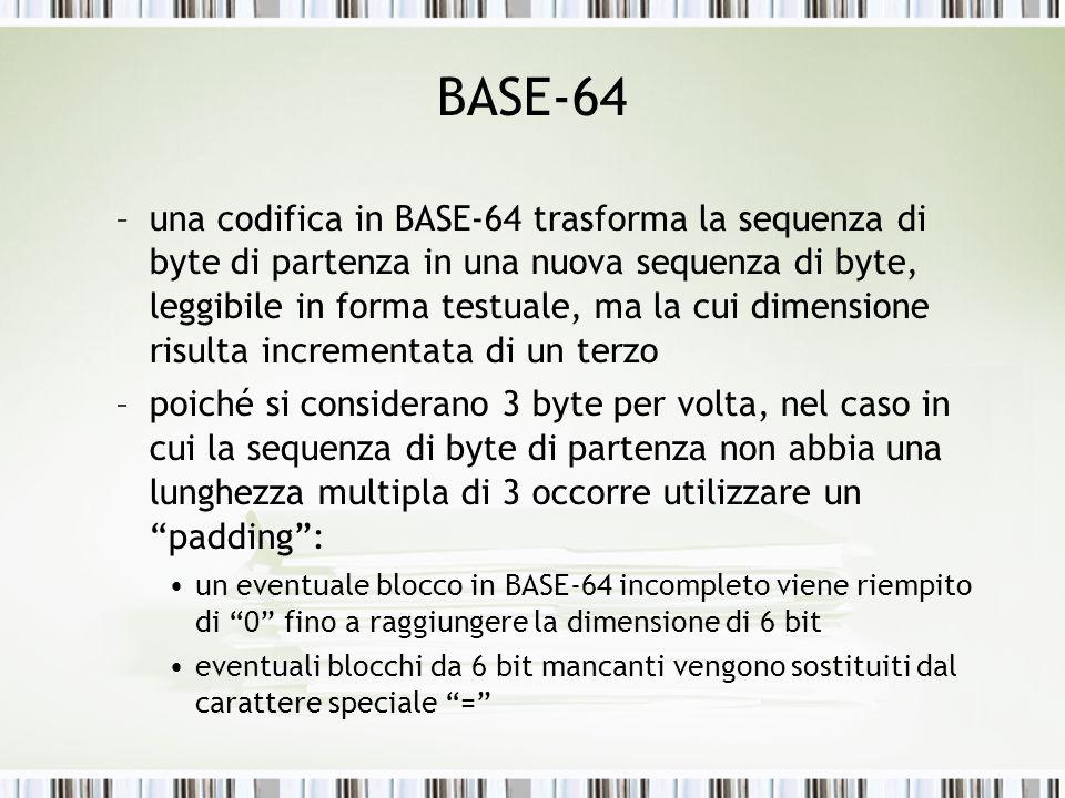 BASE-64 –una codifica in BASE-64 trasforma la sequenza di byte di partenza in una nuova sequenza di byte, leggibile in forma testuale, ma la cui dimensione risulta incrementata di un terzo –poiché si considerano 3 byte per volta, nel caso in cui la sequenza di byte di partenza non abbia una lunghezza multipla di 3 occorre utilizzare un padding: un eventuale blocco in BASE-64 incompleto viene riempito di 0 fino a raggiungere la dimensione di 6 bit eventuali blocchi da 6 bit mancanti vengono sostituiti dal carattere speciale =