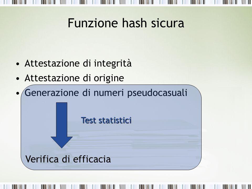 Funzione hash sicura Attestazione di integrità Attestazione di origine Generazione di numeri pseudocasuali Verifica di efficacia Test statistici