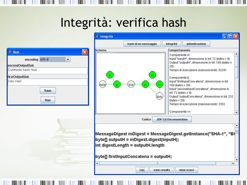 Integrità: verifica hash