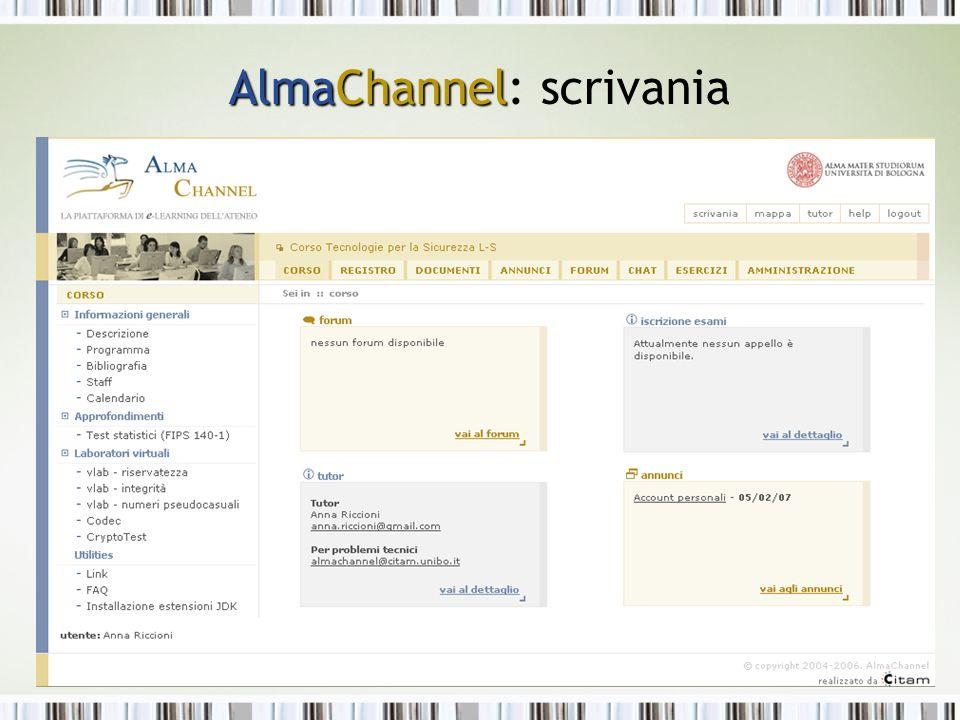 AlmaChannel AlmaChannel: scrivania